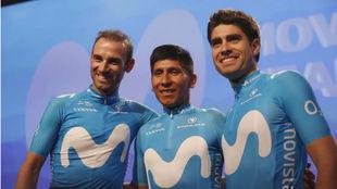 Valverde, Nairo y Landa, durante una presentación del equipo Movistar