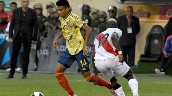 Luis Díaz durante un partido con la Selección Colombia.