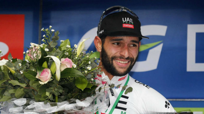 Fernando Gaviria en un podio de este 2019