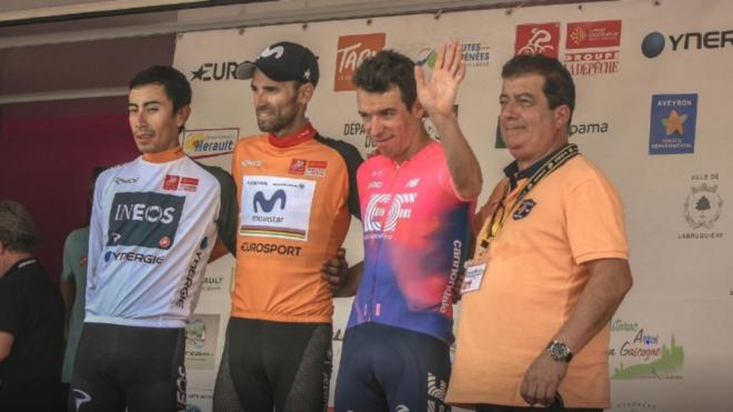 Podio final de la antigua Ruta del Sur: Valverde (campeón, centro),...