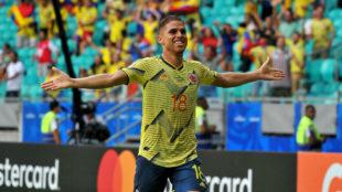 Anotó su primer tanto con la Selección Colombia.