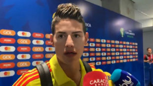James Rodríguez durante la zona mixta.
