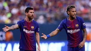 Neymar y Messi, durante un partido del Barcelona