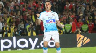 Michael Rangel celebra un gol de pena máxima ante el Pasto en la...