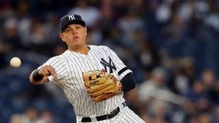 Giovanny Urshela en uno de los partidos de los New York Yankees