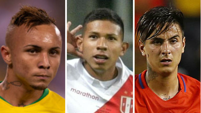 Everton Sousa, Edison Flores y Erik Pulgar.