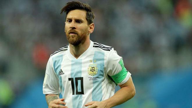 Messi en un partido con la Selección Argentina.