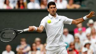 Djokovic pega de derecha.