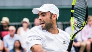 Juan Sebastián Cabal en uno de los partidos de Wimbledon
