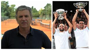 Javier Frana (izquierda), Cabal y Farah con sus trofeos de campeón...