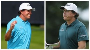 A la izquierda, Mickelson en el Open; a la derecha, hace un mes.