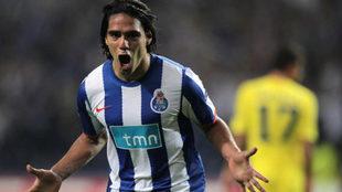 Falcao celebra un gol con la camiseta del Porto