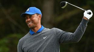 Tiger Woods se lamenta tras dar un mal golpe / AFP