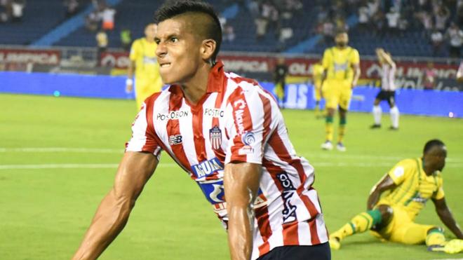 David Murillo celebra el segundo gol del compromiso.