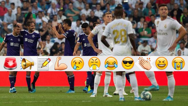 Los jugadores de Madrid y Valladolid tras el gol pucelano.