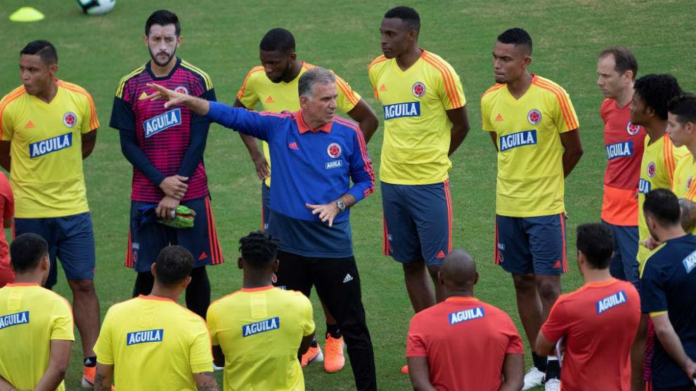 La Selección Colombia, durante un entrenamiento.