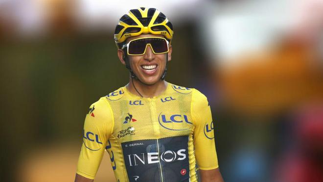 Egan Bernal sonríe durante el pasado Tour de Francia.