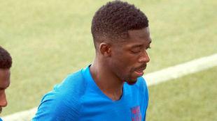 Dembélé, en un entrenamiento con el Barça.