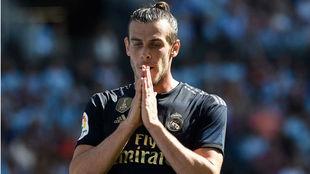 Bale se lamenta tras una jugada en el partido ante el Celta