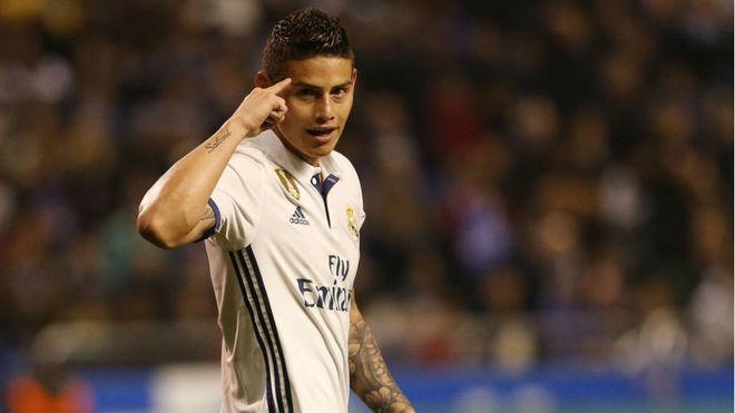 James, durante un partido en el Bernabéu