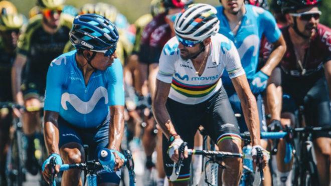 Nairo y Valverde en acción de carrera