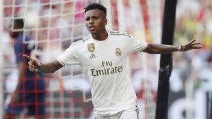 Rodrygo celebra un gol en pretemporada