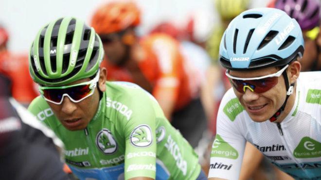 Nairo y Superman durante la Vuelta a España 2019