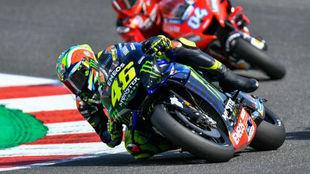 Rossi en plena vuelta del circuito