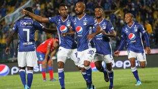 Luis Payares jugador de Millonarios celebra después de anotar un gol...