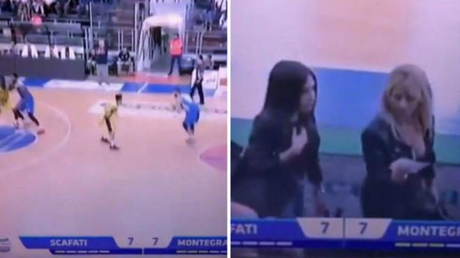 Imagen del divertido momento en un juego de baloncesto en Italia