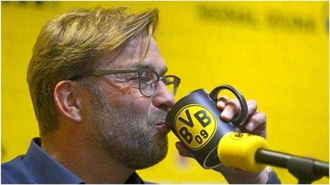 Jürgen Klopp en una rueda de prensa de su época en el Dortmund.