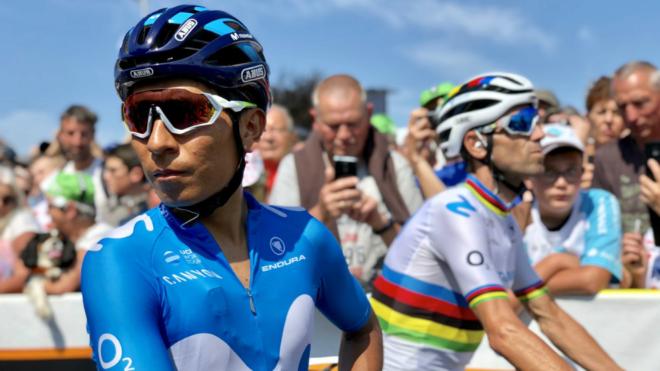 Nairo Quintana y al fondo Alejandro Valverde en el pasado Tour de...