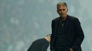 Queiroz en un momento del partido contra Argelia.