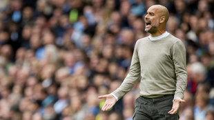 Guardiola, durante un partido del Manchester City.