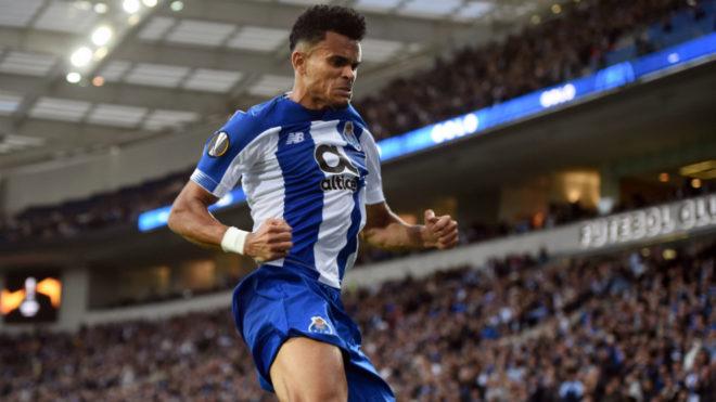 Luis Díaz festeja su gol ante el Rangers por la Europa League.