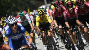 Egan Bernal en el pasado Tour de Francia del cual salió como campeón