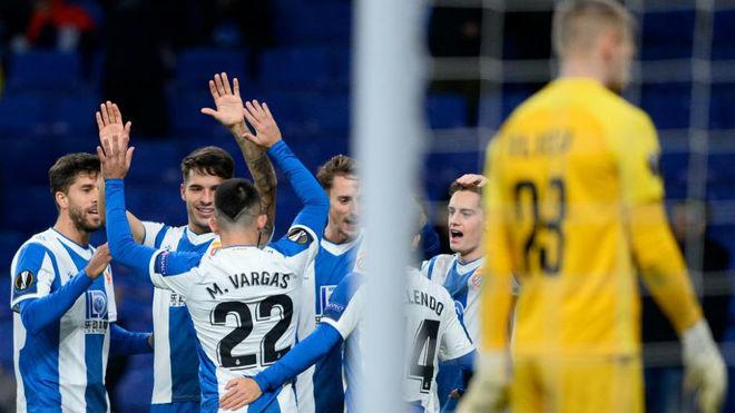 El Espanyol celebra uno de los goles contra el Ludogorets.