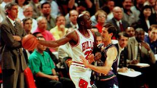 Michael Jordan durante un encuentro con los Chicago Bulls.