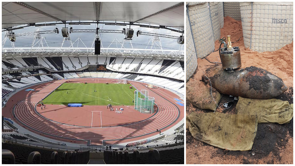 Estadio Olímpico de Londres y una bomba similar a la que estaría enterrada.
