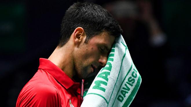 Djokovic se seca con una toalla.