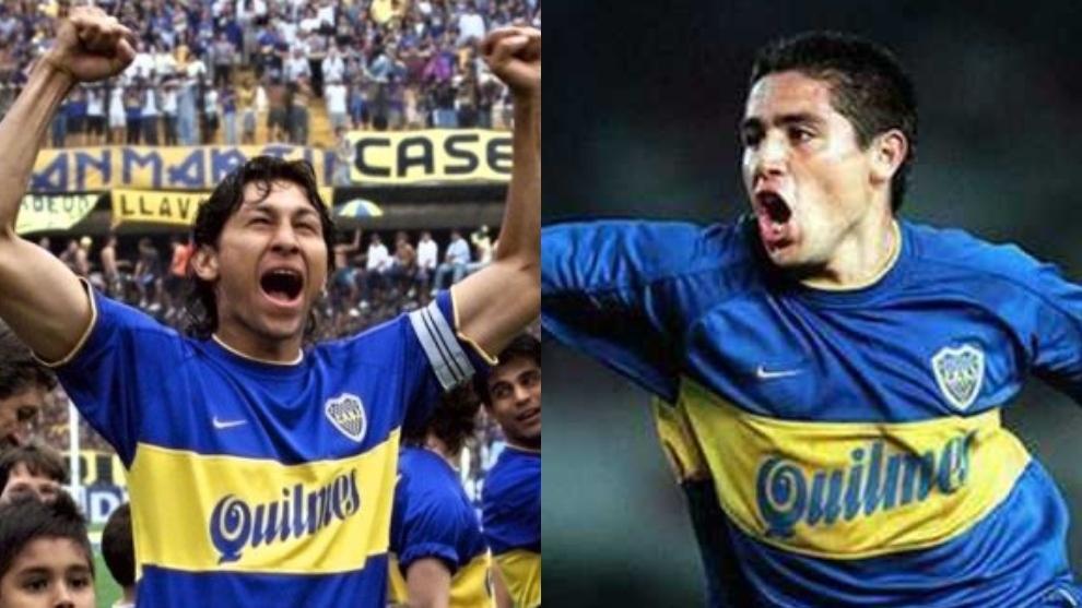 Jorge Bermúdez (izq) y Juan Román Riquelme (der) celebran con con...