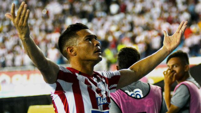 Teófilo Gutiérrez celebra uno de sus goles con los aficionados de...