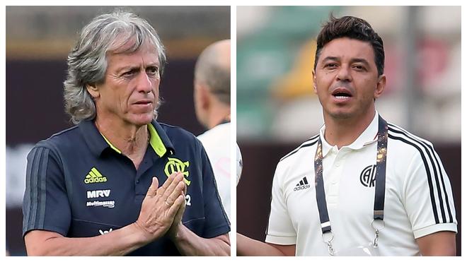 Jorge Jesús y Marcelo Gallardo, técnicos de Flamengo y River,...
