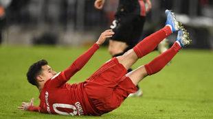 Coutinho durante un encuentro con el Bayern de Múnich.