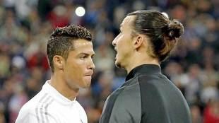 Cristiano e Ibrahimovic, antes de un partido entre Real Madrid y PSG.