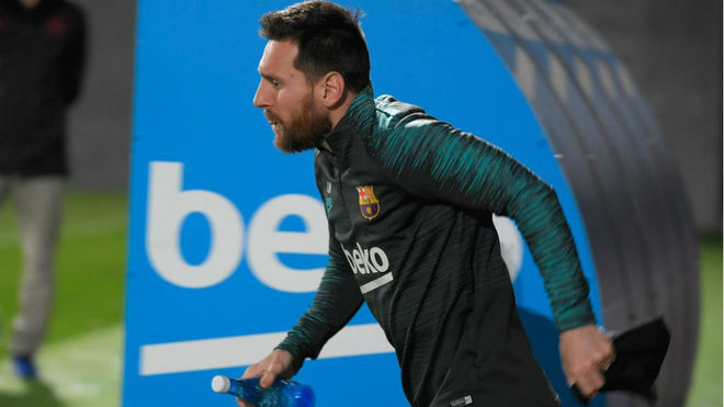 Leo Messi durante una práctica con el Barcelona.