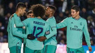 El Real Madrid celebra un gol ante Unionistas de Salamanca.