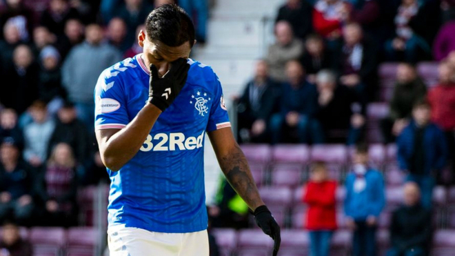 Aldredo Morelos, durante un partido de la Scottish Premiership con el...
