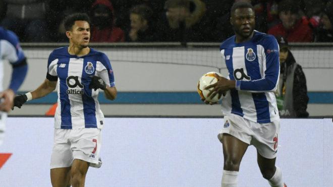 Luis Díaz (7) celebra el 2-1 ante el Bayer Leverkusen.