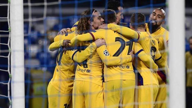 El Barcelona celebra el gol de Griezmann en San Paolo.